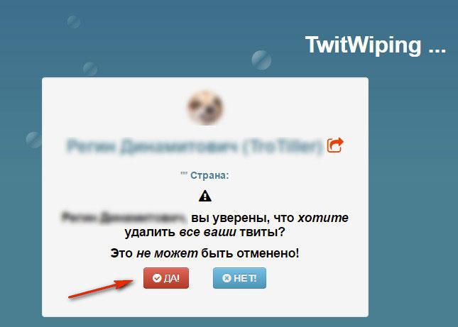 подтверждение удаления твитов