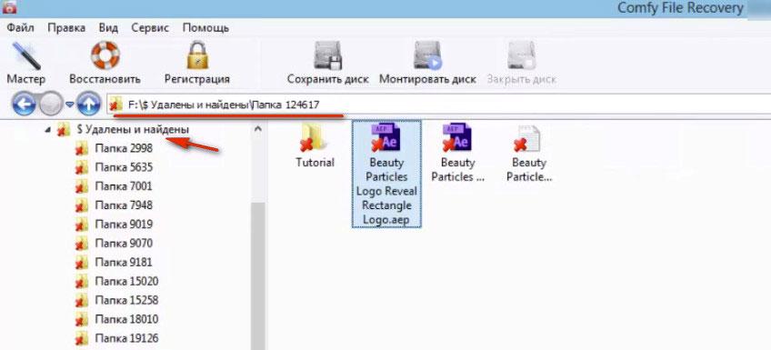 выбор файлов, подлежащих восстановлению