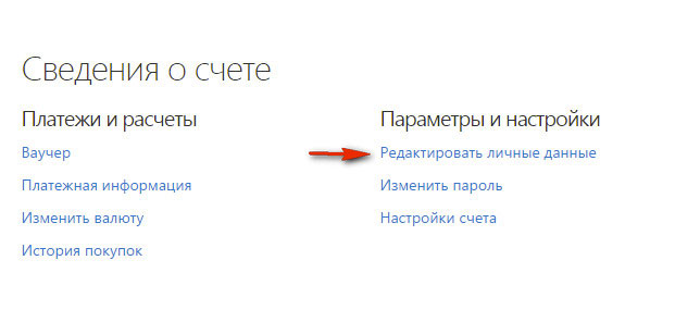 активация редактора личных данных