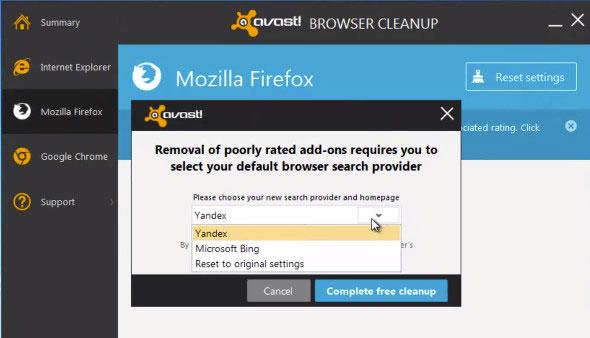 сброс настроек Browser Cleanup