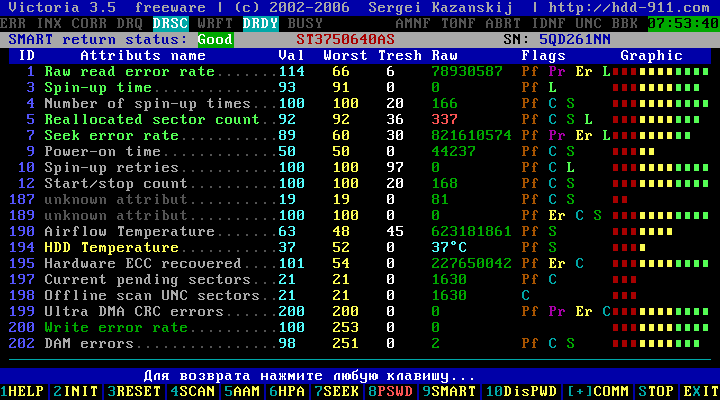 Victoria HDD 3.52 - Вывод параметров программы