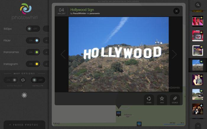 PhotoWhirl для Windows 8 и RT: изысканное приложение для просмотра фотографий на карте