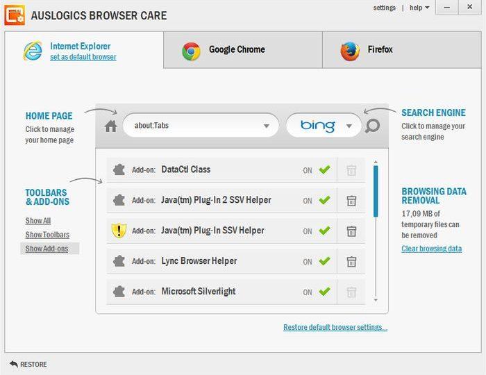 Auslogics Browser Care – решение для обслуживания Chrome, Firefox и IE