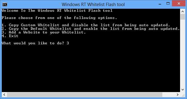 Программа для добавления сайтов в белый список Modern-версии IE10, на которых должен работать Flash