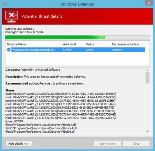 Windows Defender может удалить Superfish с ноутбуков Lenovo