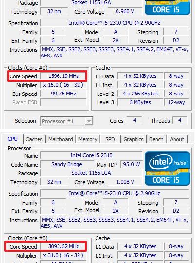 Почему тактовая частота процессора скачет в простое и нагрузке