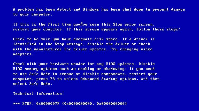 Исправить 0x0000007f ошибку экрана смерти Windows 7 и XP