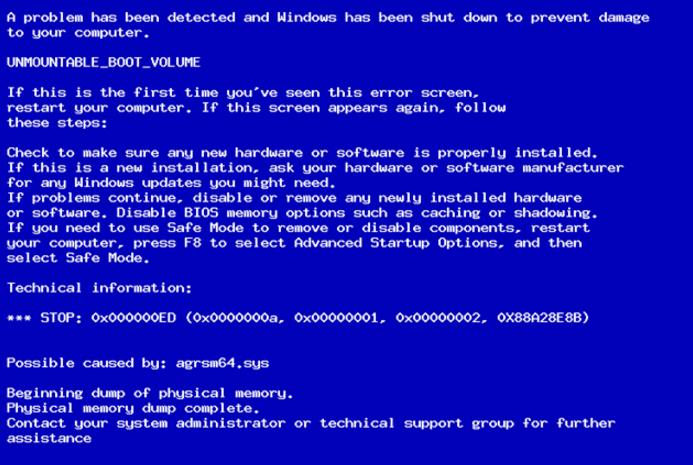 Код ошибки 0x000000ed на Windows XP и как ее исправить