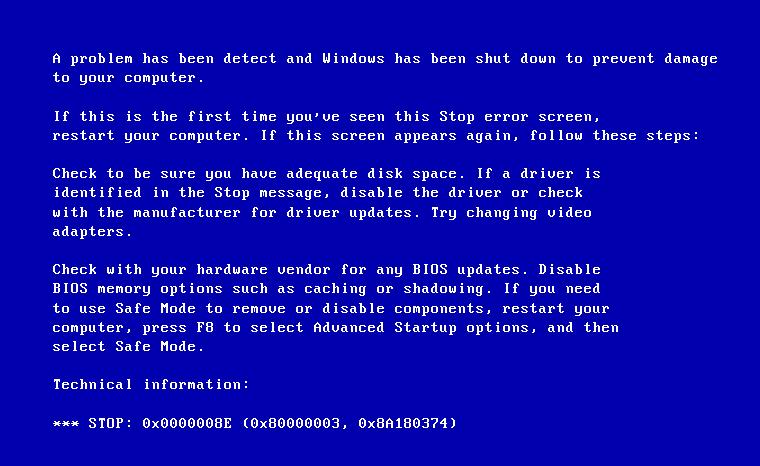 Stop ошибка 0x0000008e Windows XP и 7