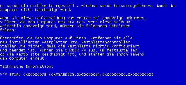 stop bsod 0x0000007b установка Windows XP