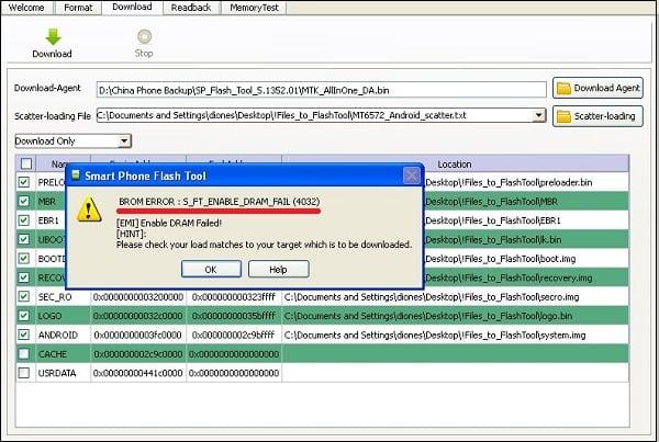BROM ERROR : S_FT_ENABLE_DRAM_FAIL (4032) что делать?
