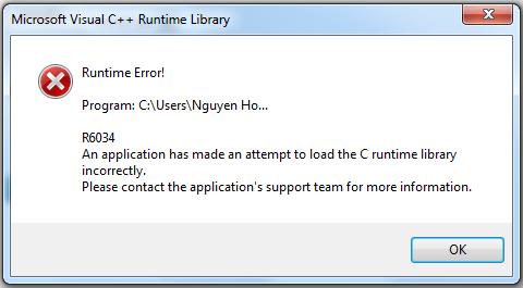 Исправить причину microsoft visual c runtime library ошибки