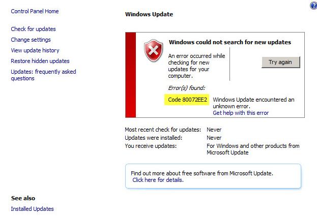 Как исправить Windows update 80072ee2 Windows update dt000