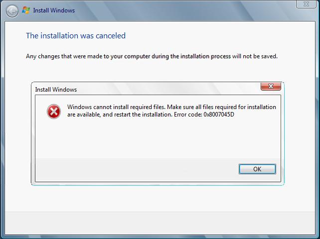 Код 0x8007045d как исправить ошибку на Windows 7