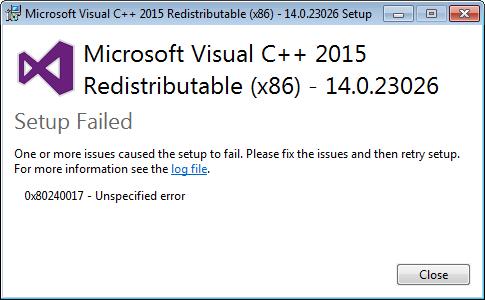 Неопознанная ошибка 0x80240017  visual c исправить