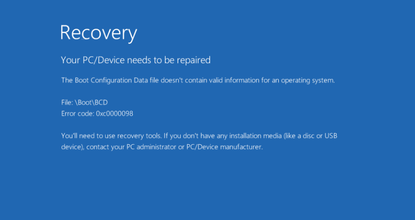 Ошибку 0xc0000098 исправить при установке Windows