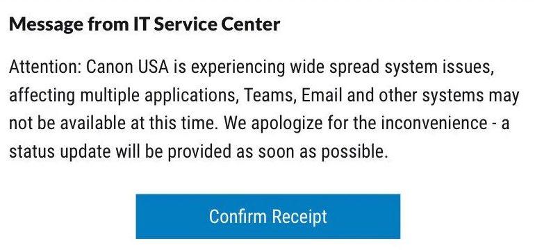 Canon официально подтвердила факт атаки вируса-вымогателя на сервера компании